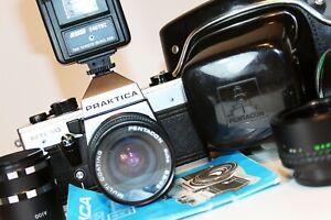 PRAKTICA MTL50 35mm SLR Film Camera PENTACON 28mm F2.8 Lens M42 CASE FLASH etc