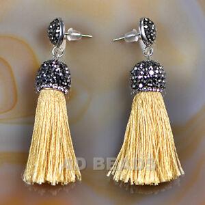 Fashion Charm Crystal Silk Tassel Rhinestone Cap Fringe Dangle Earrings