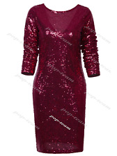 Women Glitter Sequin Slim Long Sleeve Evening Party Shift Cocktail Mini DESS 18 Burgundy Dresses M UK 10-12