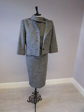 HOBBS WOOL MIX COLLAR DETAIL DRESS SUIT FULLY LINED DRESS - SIZE 10 - GREY