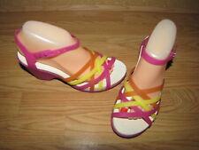 Crocs Multi Color Jelly Wedge Sandals - 8 European 39 EUC