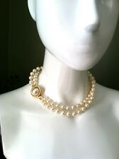 Carolee Double Strand Pearl Bead Necklace Braid Gold Tone & Baroque Clasp