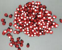 100pcs Red Ladybird Mini Self Adhesive Wooden Ladybugs Craft Card Wood 13mm