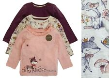 Nutmeg Girls Baby Tops 3 Pack Pink Cotton Long Sleeve Cute Animals Multipack NEW