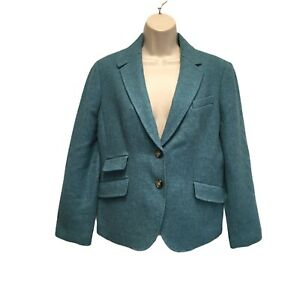 Talbots Teal Green Wool Cute Peplum Blazer Jacket Size 12P 12 Petite NWT $149