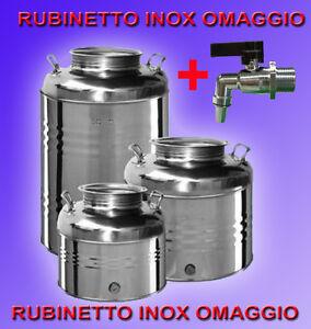 CONTENITORE BIDONE FUSTO IN ACCIAIO INOX PER OLIO  15 30 50 LITRI  MADE IN ITALY