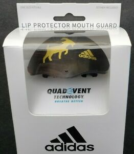 Adidas Quad Vent Lip Protector Mouth Guard Black Gold GOAT Tether Included OSFA