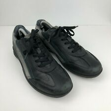 ECCO SIZE 42 UK8 MENS BLACK LEATHER LACE UP CASUAL SHOES TRAINERS VGC