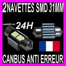 2 AMPOULE NAVETTE A 2 LED SMD C5W 31MM ANTI SANS ERREUR CANBUS PLAFONNIER PLAQUE