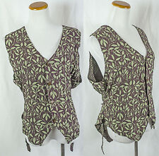 Vintage Batik Rayon Button Up Reversible Vest!! Size M