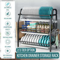2/3 Tier Kitchen Dish Drainer Storage Rack Home Cutlery Cup Plates Drip Holder