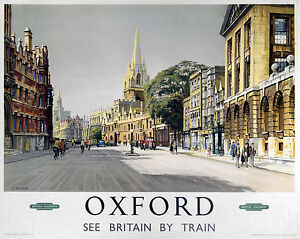 Oxford Broad St. (old rail ad.) mounted print  (se ls) REDUCED TO CLEAR