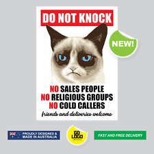 DO NOT KNOCK Funny Cat Sticker Decal No Sales People Grumpy Sign for Front Door