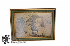 Vintage Asian Print Japanese Art Oriental Gold Frame with Green Fabric Border