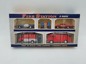 Vintage 1960's Plastic Fire Station 8 Piece Vehicle Play Set  Still in Box RARE!