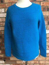 Crown & Ivy Womens XS Blue Ribbed Pull-Over Sweater Long Sleeve Cotton Blend