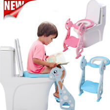 Adjustable Toddler Toilet Training Seat Potty with Non-Slip Ladder Step