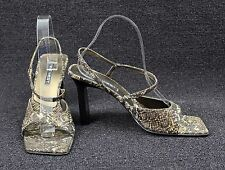 NINE WEST Faux Snakeskin Fabric Open Toe Strappy Sandals Heels Shoes Sz 8 1/2 M
