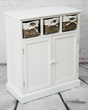 White Sideboard Shabby Chic Storage Cupboard With Grey Baskets Cabinet