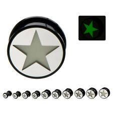 PAIR-Star Glow in the Dark Acrylic Screw On Ear Plugs 10mm/00 Gauge Body Jewelry