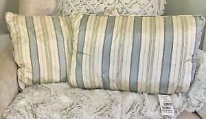 RARE RALPH LAUREN HOME GREAT HALL STRIPE PAIR OF SILK THROW PILLOWS ($450.)