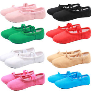 Ballet Shoes Full Sole Child Dance Slippers Gym Shoes With Attached Elastics UK