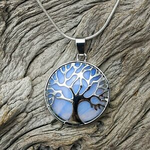 Silver Plated Tree Of Life Opalite Pendant On Silver Plated Snake Chain