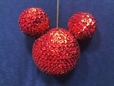 Disney Parks Red Sequin Mickey Ears Blown Glass Christmas Large Ornament