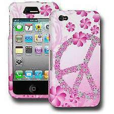 Durable Protective Hard Shell Snap On Case Cover for iPhone 4 - Peace & Love