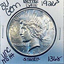 New listing  1926 S BU GEM PEACE SILVER DOLLAR UNC MS+ GENUINE U.S. MINT RARE COIN 1368