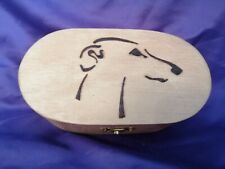 Wooden Pyrography Whippet dog Box