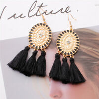 Women Plate Shape Crystal Long Tassel Earrings Dangle Statement Bohemian Jewelry