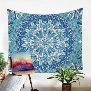 Blue Mandala Floral Boho Wall Tapestry Hanging Throw Cover Home Room Decoration