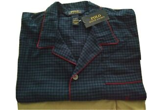 New POLO Ralph Lauren Men Pajama Top Long Sleeves Navy Blue plaid Flannel  Sz XL