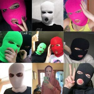 Full Face Cover Mask Three Hole Balaclava Knit Hat Army Tactical CS Winter Ski