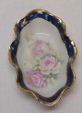 Limoges France Versailles Porcelain Trinket Dish Wavy Blue Gold Trim Pink Flower