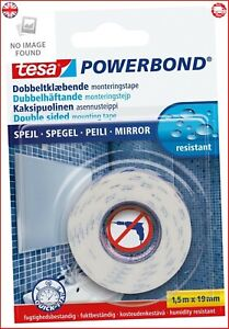 tesa Powerbond MIRROR - Double-Sided Mounting Tape for Mirrors - Humidity-Resis