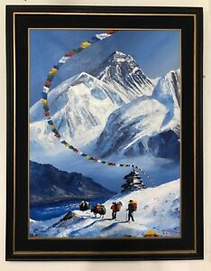 MOUNT EVEREST VIEW FROM BASE CAMP ORIGINAL ACRYLIC PAINTING IN CANVAS