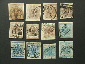 AUSTRIA 12 stamps 6kr 9kr 1850 - 1854