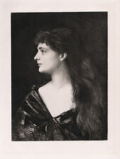 """Charming Jean-Jacques HENNER 1800s Etching """"Young Creole Girl"""" SIGNED Framed COA"""
