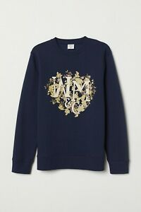 NEW H&M William Morris Navy Blue Floral Sweatshirt S Jumper  Crew Neck SOLD OUT