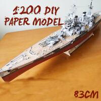 3D 1/200 Scale DIY Paper Model Kit Battleship Ship Military Warship Kid Toy