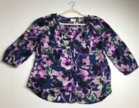 St. John's Bay Women's ¾ Sleeve Blouse Top Medium M Floral Abstract Colorful