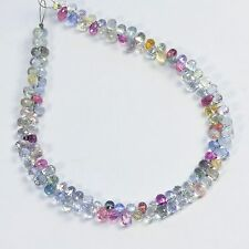 Gem Pastel Color Sapphire Faceted Teardrop Briolettes Bead 7.75 inch strand