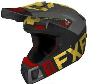 NEW 2021 FXR SNOWMOBILE HELMET, CLUTCH EVO, BLACK AND GOLD, LARGE, 1350G