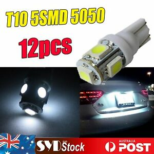 12pcs Replace White Wedge Side T10 184 5SMD 5050 Led Light Dome Trunk Tail Lamp