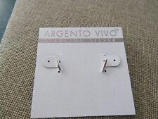 Argento Vivo Sterling Silver mini bar stud pierced earrings
