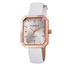 New Women's Akribos XXIV AK749WTR Swiss Quartz Diamond White Leather Strap Watch