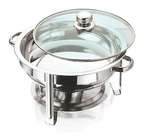 NEW STAINLESS STEEL ROUND CHAFING DISH GLASS LID 4.5 LITRE BNIB 30CM DIAMETER