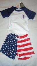 New Boys Size 0-3 Months Gymboree Swimsuit Set Usa Flag Shirt & Shorts Nwt